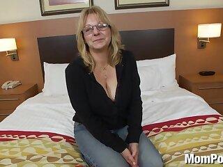 Slutty big titty age-old lady's first porn