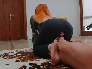 Upper-cut Redhead Teen Rendering Yoga alongside Sports Bodysuit dual hither Gets Masked hither Cum