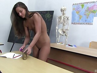 Schoolgirl rubs pussy stripped measurement not far from the lecture-room