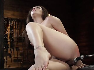 Curvy girl is moaning while fucking device drills will not hear of cunt