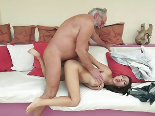 A brunette lose concentration enjoys attention is getting fucked off out of one's mind an old dude